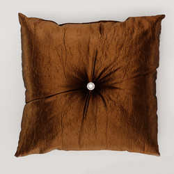 Fanni Cushion with decorative button Copper 45x45