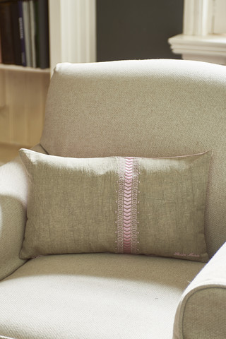 Linen Herringbone Pillow Cover pink 50x30