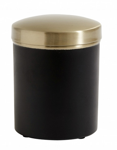 Container w/lid, black, brass