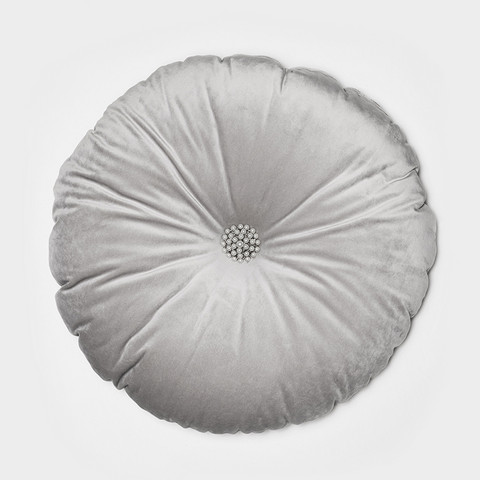 Megan Cushion with decorative button Light grey