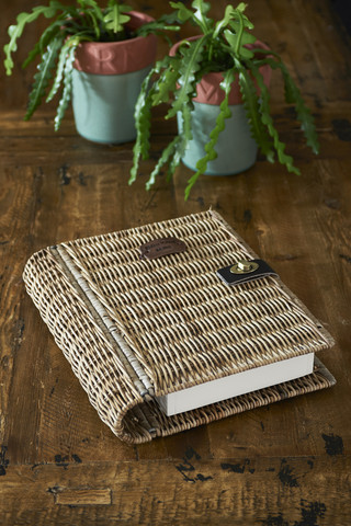 Rustic Rattan Book Safe