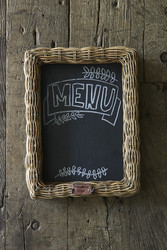 Rustic Rattan Shadow Chalk Board