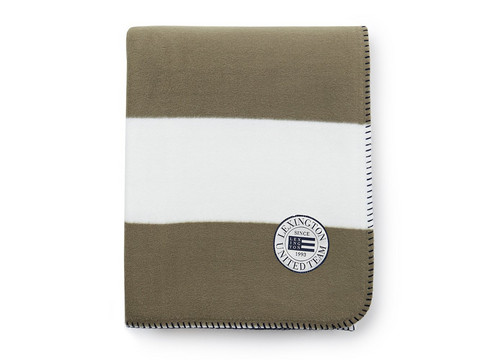 Block Striped Fleece Throw White-Green
