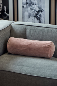 Velvet Roll Pillow cover pink 50x20