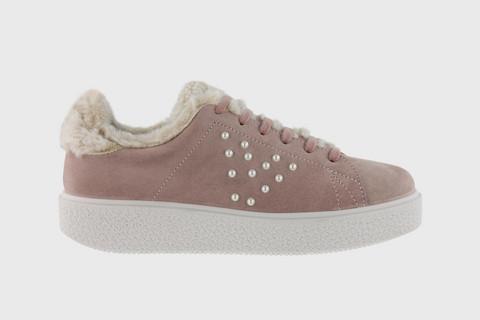 PEARL Split-Suede Sneaker Nude