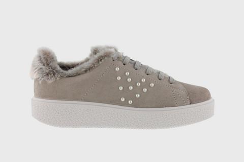 PEARL Split-Suede Sneaker Taupe