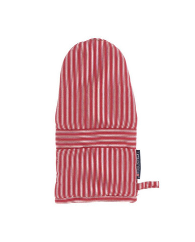 Striped Mitten White-Red