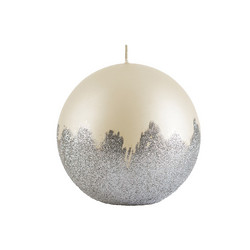 Velvet Ball Candle 10cm Pearl White silver weave