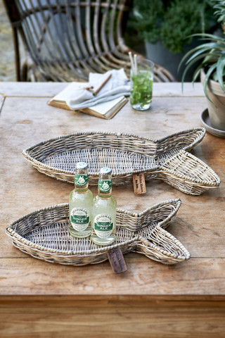 Rustic Rattan Fish Serving Tray S/2