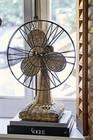 Rustic rattan table fan