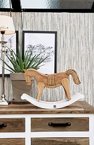 Rustic Rattan Rocky Horse