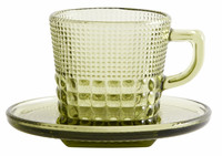 Glass cup with saucer Green