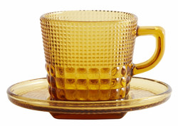 Glass cup with saucer Amber