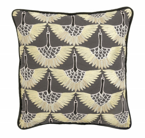 Cushion cover Yellow with bird embroidery