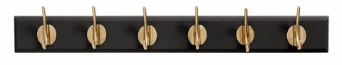Coat rack with 6 brass hooks Matt black