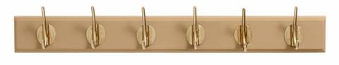 Coat rack with 6 brass hooks Matt camel
