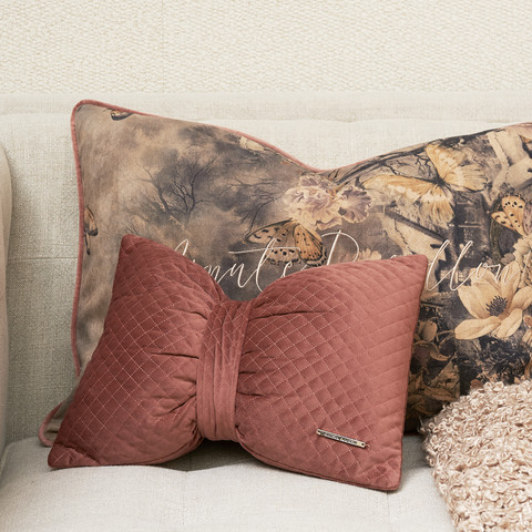 Diamond Stitch Bow Pillow pink