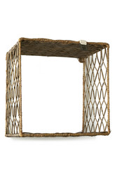 Rustic Rattan Wall Shelf M
