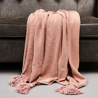 Tassel St Washed Throw pink 200x150