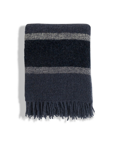 Stripped Wool Boucle Throw Blue