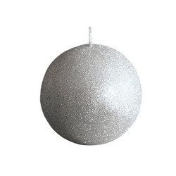 Glitter Ball Candle 10cm Silver