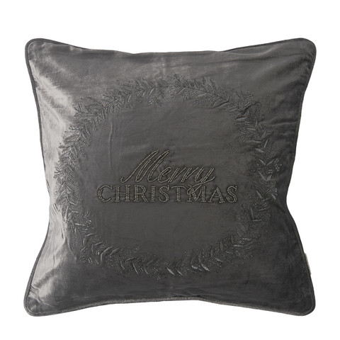 Cl. Christmas Wr. Pillow Cover grey 50x50