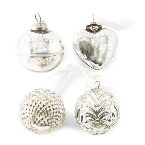 Happy Holiday Ornament Silver 4 pcs