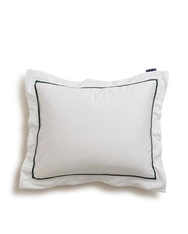 Holiday Star Framed Sateen Pillowcase, White/Green