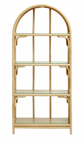 BALI rattan book case w/glass shelves