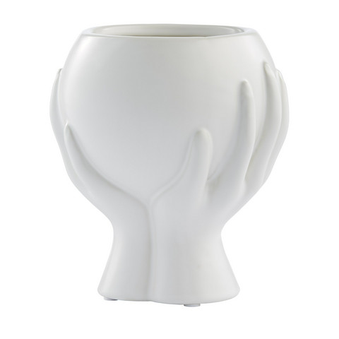 Haniya Flower Pot White  H 16,5 cm