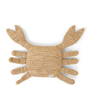 Raffia Crab Pillow natural