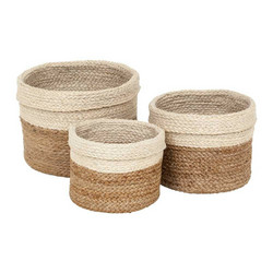 Jute Braided Cylinder Natural/ White S/3 Korisetti