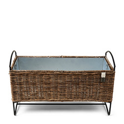 Rustic Rattan Planter Low