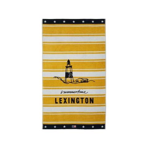 Graphic Cotton Velour Beach Towel, Yellow/White