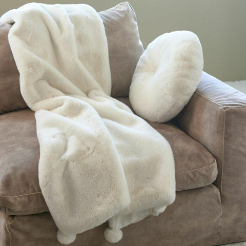 Cosy Pompon Faux Fur Throw 170x130