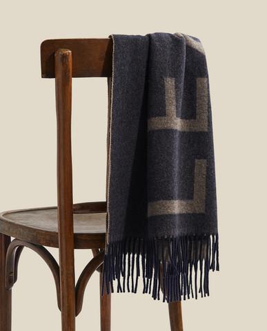 Aurora Recycled wool blend scarf Dark blue-beige