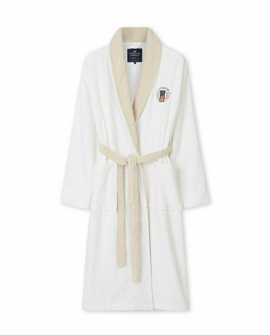 Lexington Cotton Velour Contrast Robe Beige-white