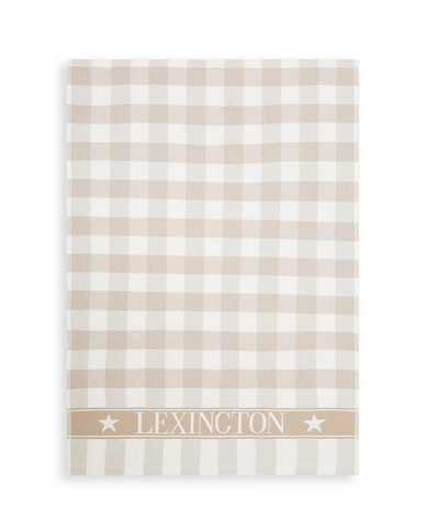 Icons Checked Cotton Terry Kitchen Towel Beige-white