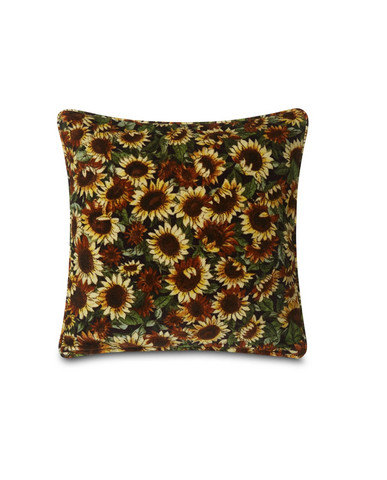 Flower Printed Cotton Velvet Pillow Cover