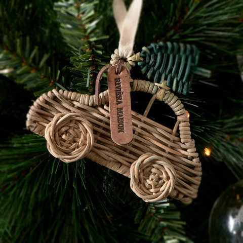 Rustic Rattan Car Ornament