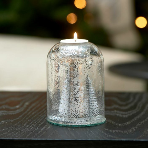 Pretty Christmas Votive silver