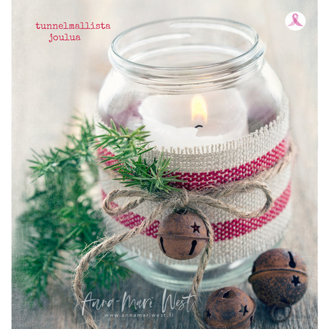 Christmascard Candle in a glass jar