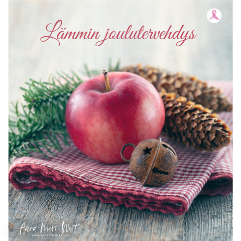 Christmascard, apple and cones