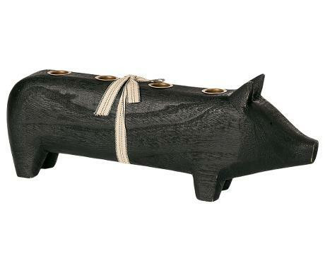 Maileg Wooden pig large black