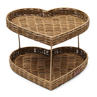 Rustic Rattan Double Heart Tray