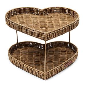 Rustic Rattan Double Heart Tray