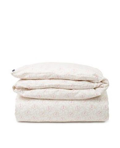 Light Beige/Pink Flower Print Cotton Sateen Duvet Cover