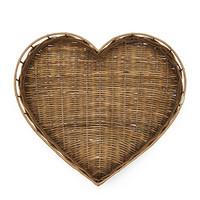 Rustic Rattan Heart Tray