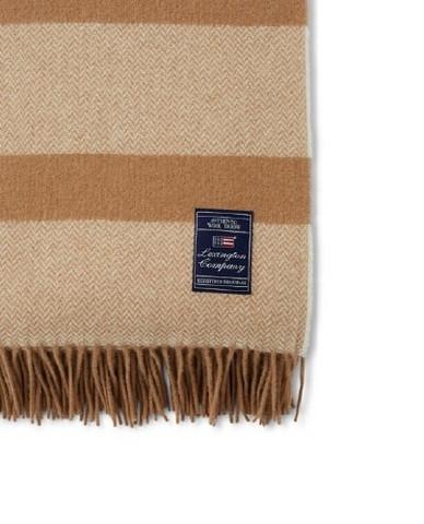 Herringbone Recycled Wool Throw beige 130 x 170 cm