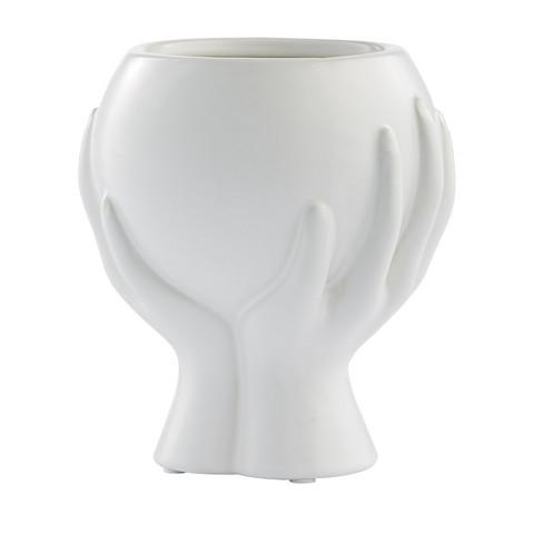 Haniya Flower Pot White  H 13,5 cm